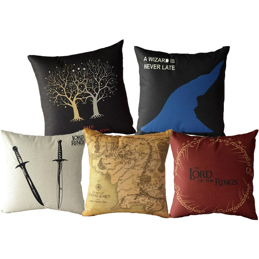 Cushion The Lord of the Rings Cotton Linen Sofa Double Swords Map Sofa Bedroom Home Decorative Throw Pillowcase