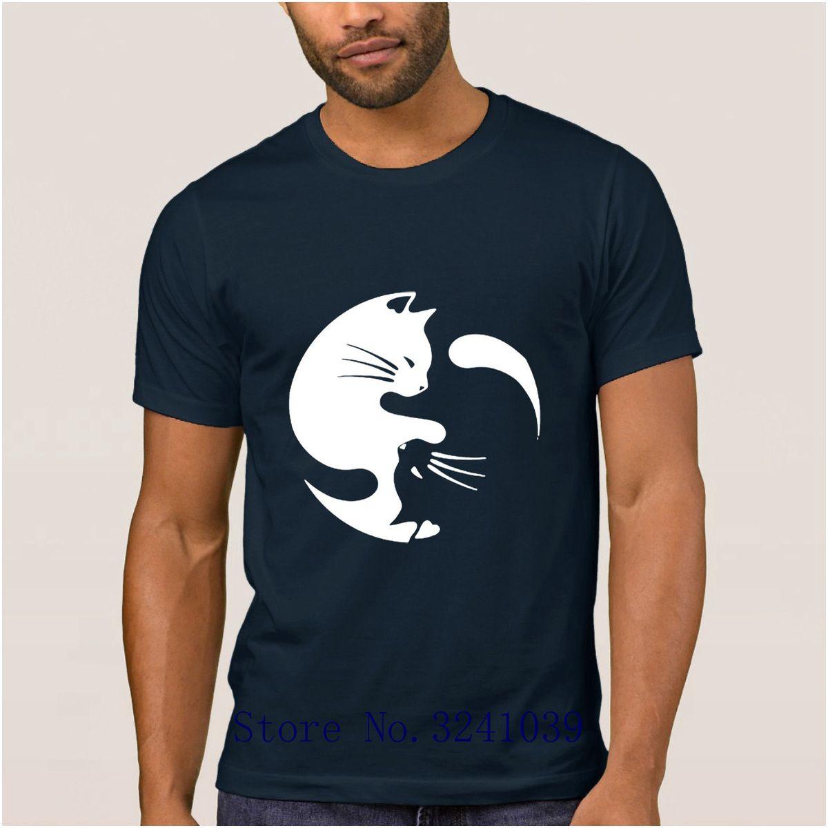 La Maxpa Imprimer Humour Yin Yang Cats T-shirt fantastique pour les hommes T-shirt Printemps Homme loisirs Tshirt régulier pour les hommes
