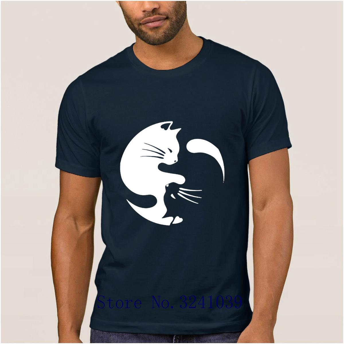 La Maxpa Print Humor Yin Yang Cats Fantastic t shirt for men Spring Graphic t-shirt mens Leisure regular tshirt for men