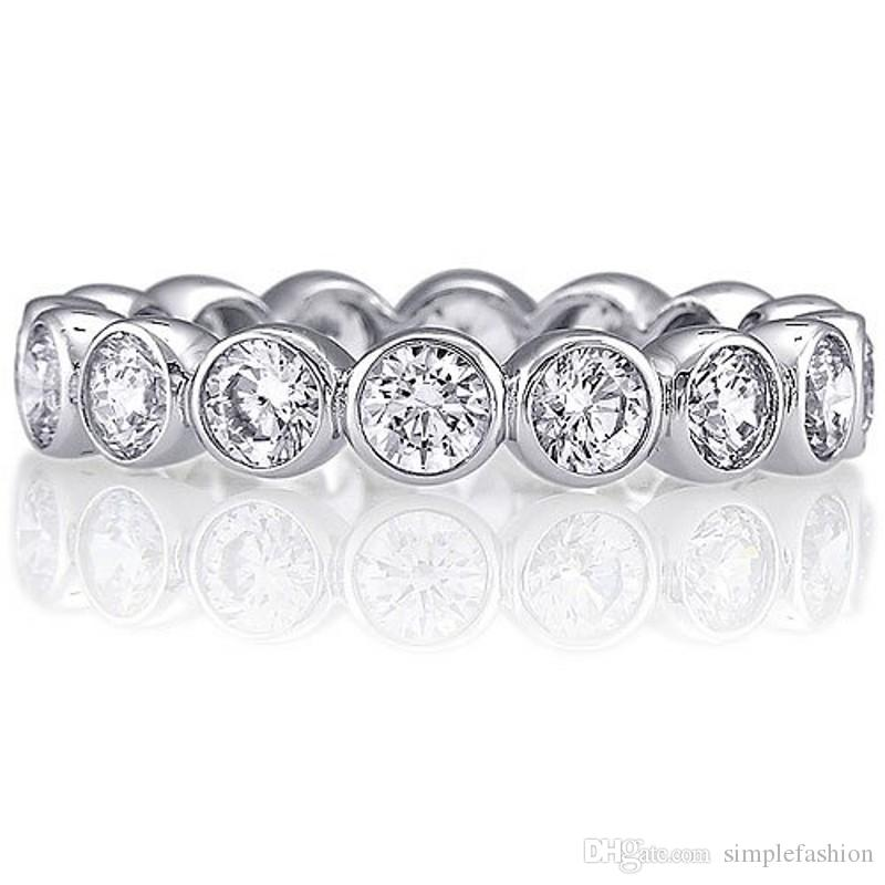 Vecalon Moda Kobiece Zespoły Ślubne Pierścień 925 Sterling Silver 3mm 5A Cyrkon Sona CZ Pierścienie Zaręczynowe dla Kobiet Palec Biżuteria