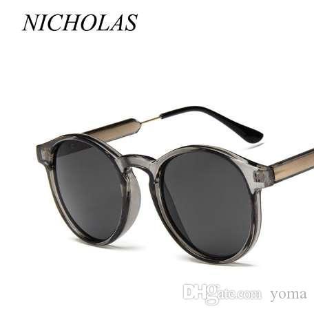 Николай ретро круглые солнцезащитные очки Женщины мужчины бренд дизайн прозрачный женский солнцезащитные очки мужчины Oculos De Sol Feminino Люнет Soleil