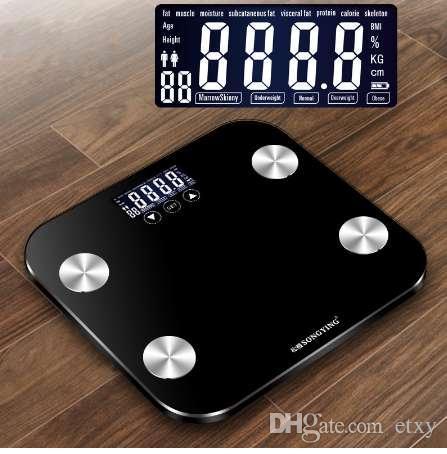 180 KG / 50G Körperfett Boden Smart Elektronische Digitalwaage Haushalt Glas Gewicht Balance Bariatric LCD Display Bad Waagen