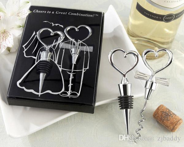 Combinación de corazón vino sacacorchos abrelatas de vino y Wine Bottle Stopper Sets recuerdos de boda invitados 60 unids (30 pares)