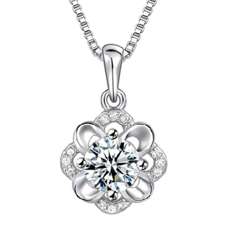 Mulher colares de prata declaração de pingente de jóias de cristal colares flor do casamento em forma do vintage infinito colares encantos