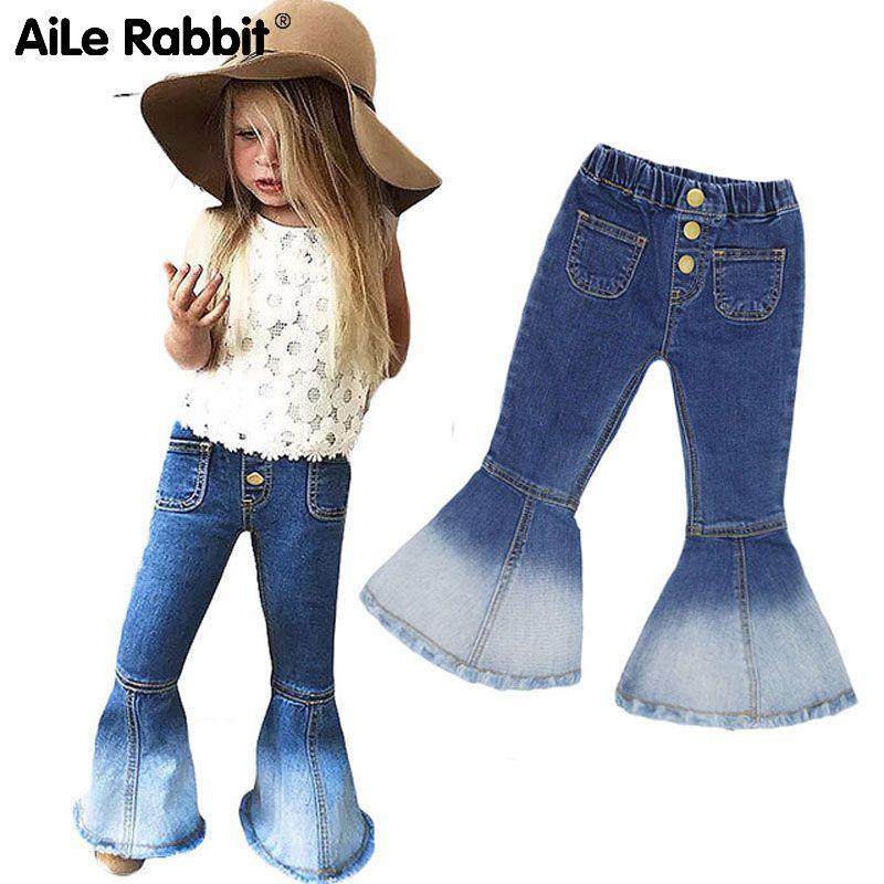 Girls fashion boot cut jeans Cowboy wide leg metal buttons elastic waist pants children Mermaid Splicing legs clothes