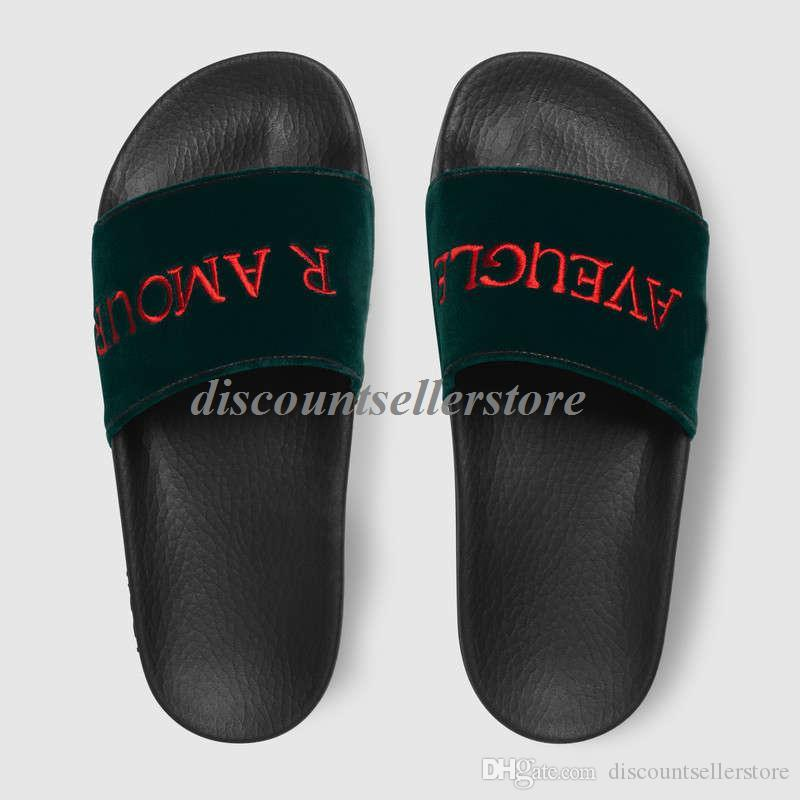 2018 mens and womens fashion Embroidered Velvet Slide Sandals with rubber sole boys girls beach slippers