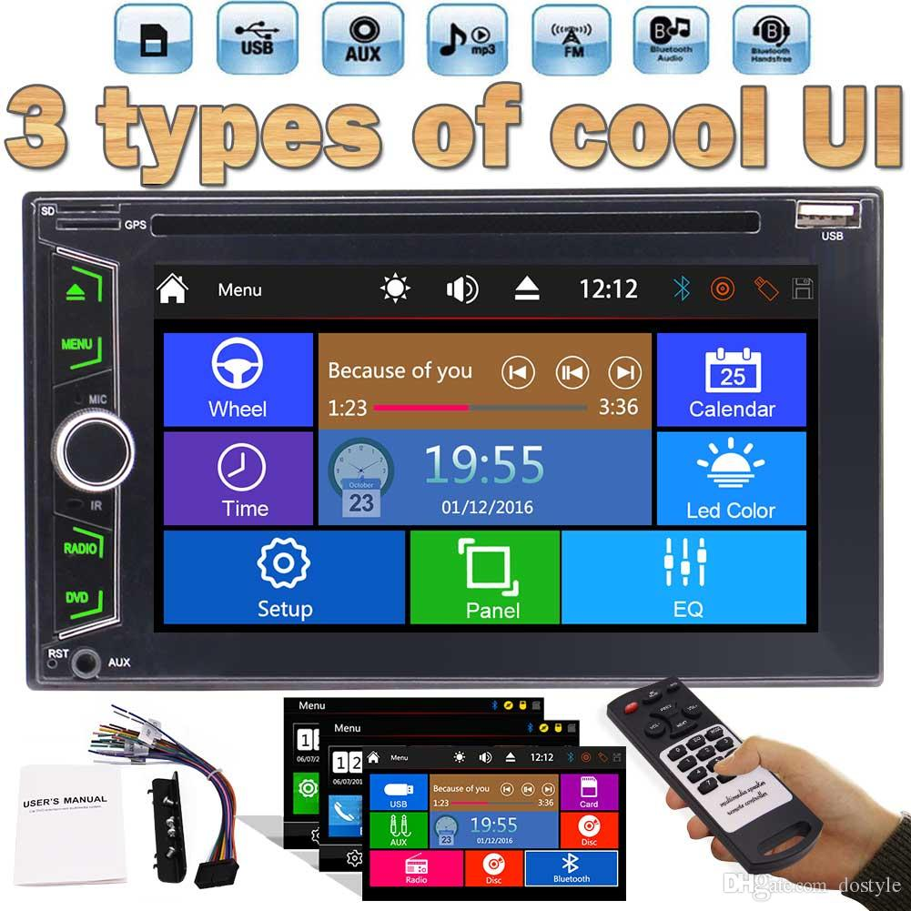 6.2'' Double DIN Car Radio Bluetooth Stereo car DVD Player Mp3 Audio 1080P Video Player AM/FM Radio/TF/USB/AUX-in/Subwoofer