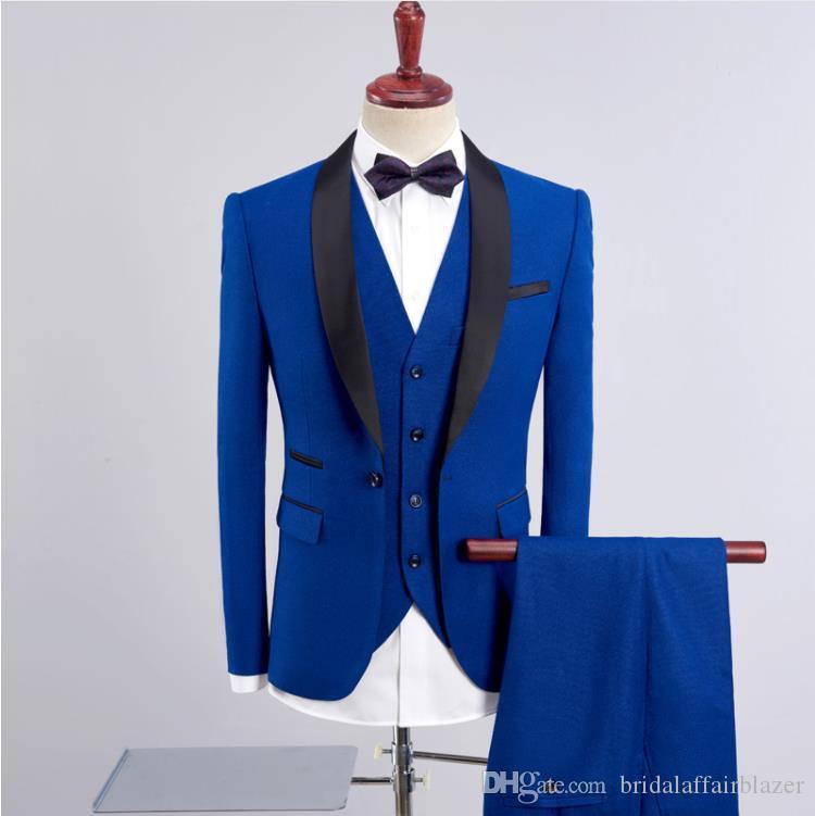 (Chaqueta + Chaleco + Pantalones) 2018 primavera Hombres moda causal Trajes de algodón y lana Hombres Slim Fit traje de boda de negocios hombres trajes clásicos para hombre 3 piezas