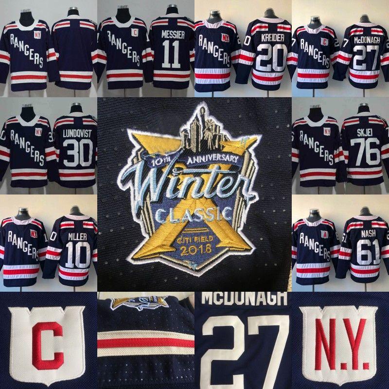 # 93 Mika Zibanejad Jersey 2018 Winter Classic New York Rangers 10 J. T. Miller 11 Marque más sucio 20 Chris Kreider 76 Brady Skjei los jerseys del hockey