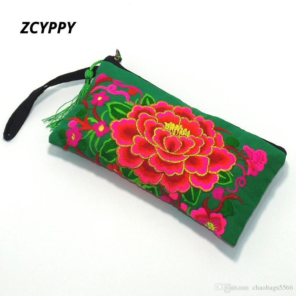 Vintage Canvas Mobile Phone Bag Embroidery Flower Hand-hold Cloth Wallet Lady Decoration Handbag