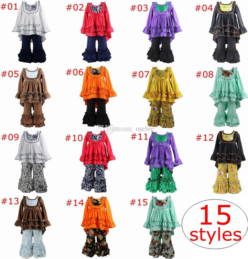 Boutique Girls Halloween Ruffles Top Pants Outfit Set Various Styles