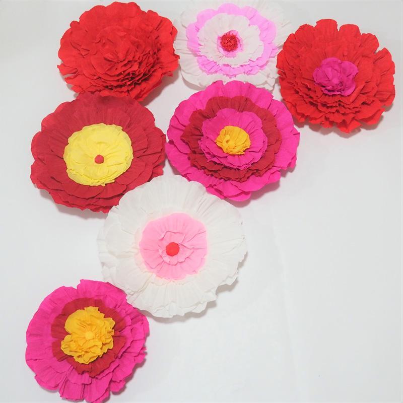 Dev Krep Kağıt Çiçekler Düğün Olay Zemin Dekor Fotoğrafçılığı Için 7 ADET Windows Ekran Moda Gösterisi Bebek Kreş