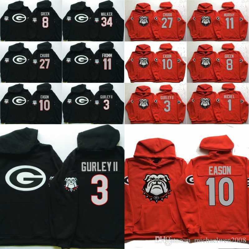 Uomini Georgia Bulldogs Coollege Jersey 34 Herchel Walker 27 Nick Chubb 11 Jake Fromm 10 Jacob Eason 3 Gurley II Maglie con cappuccio Felpe