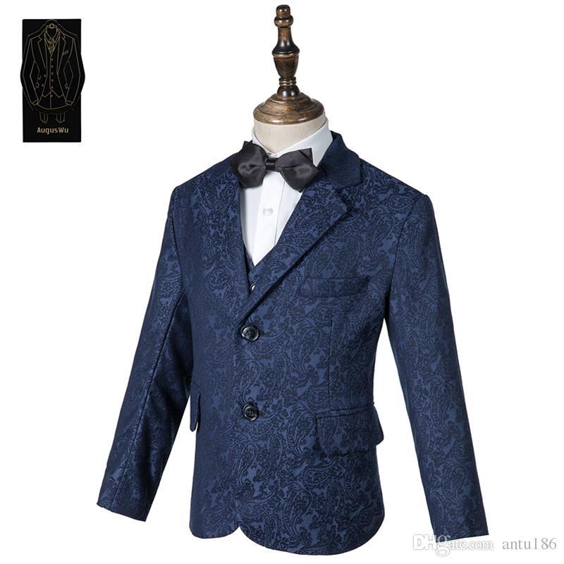 Boy moda high-end jakarlı takım üç parçalı takım (ceket + pantolon + yelek) çocuk mezuniyet töreni resmi elbise destek özelleştirme