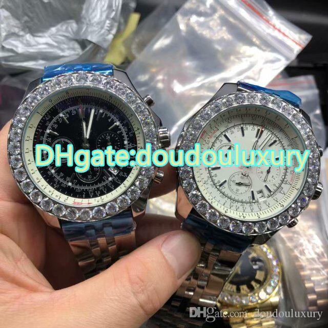 Orologi da uomo in acciaio inossidabile argento quadrante nero e bianco Diamond Bezel Fashion Orologi Full Automatic Watch impermeabile