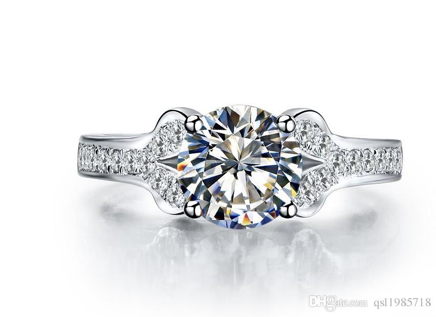 2CT Kalite Sentetik Elmas Aşk Marka Yüzük Katı Gümüş Promise Nişan Yüzüğü Beyaz Altın Renk Aşk En Iyi Takı