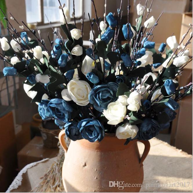 Искусственные цветы 10 шт. Искусственные цветы маленький чай бутон моделирования маленький чай роза шелковый цветок Свадебные украшения цветок