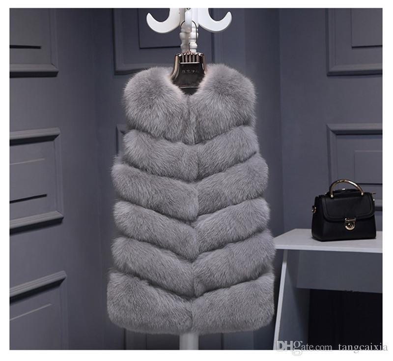 Hochwertige Pelzweste mantel Luxus Faux Fox Warme Frauen Mantel Westen Wintermode pelz frauen Mäntel Jacke Gilet Veste Plus größe 3XL