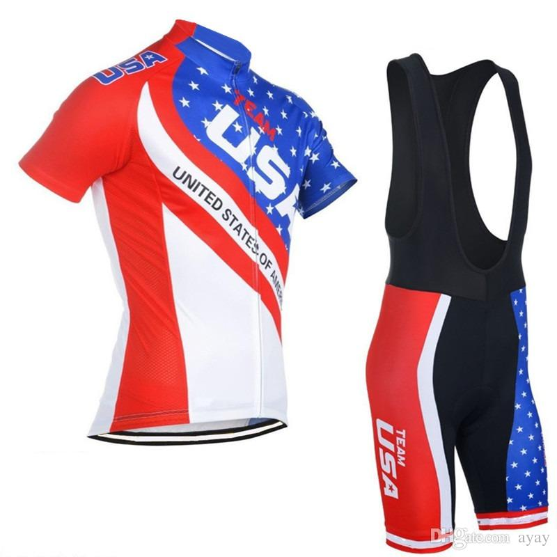 Team usa cycling jerseys us flag Ropa Ciclismo summer pro Bicycle maillot breathable MTB Short sleeve bike clothing gel PAD
