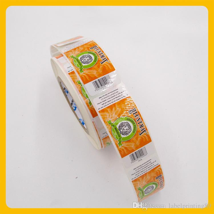 Customized square round corner package paper roll label export bottle seal self adhesive sticker