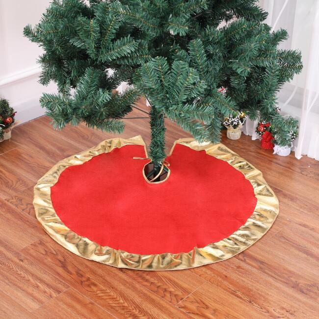 90cm rouge arbre de Noël jupes bord doré tabliers arbre de Noël tapis tapis de sol décoration de sapin de Noël décorations pour la maison de Noël
