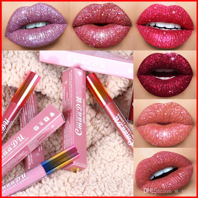 Cmaadu Glitter Flip Lip Gloss Samt Matte Lip Tint 6 Farben Wasserdichte Langlebige Diamant Flash Shimmer Liquid Lippenstift