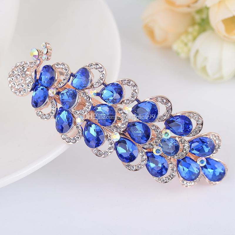 Luxurious Crystal Rhinestones Peacock Hairpin Clip Hair Barrette Fashion Clips Hair Jewelryclips Hair Accessories