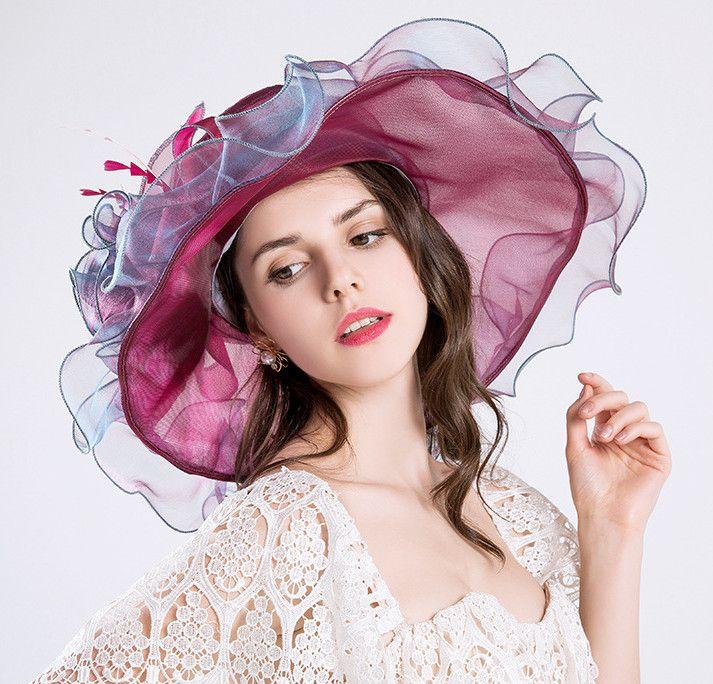 6 Colors Fashion Summer Organza Sun Hats For Women Elegant Laides Church Vintage Hat Wide Large Brim With Big Flower
