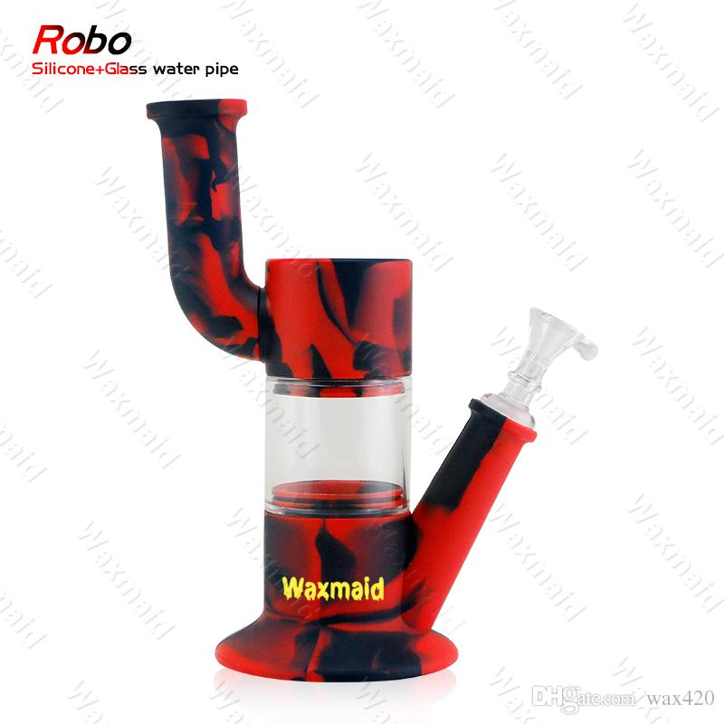 Clear red /& black silicone tobacco use Hookah Water Pipe  Glass 8 Inch