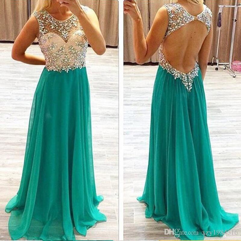 Semplice poco costoso una linea Prom Dresses gioiello scollatura cristallo perline Abiti da sera formale Sexy Back Hollow chiffon del pavimento di lunghezza abiti