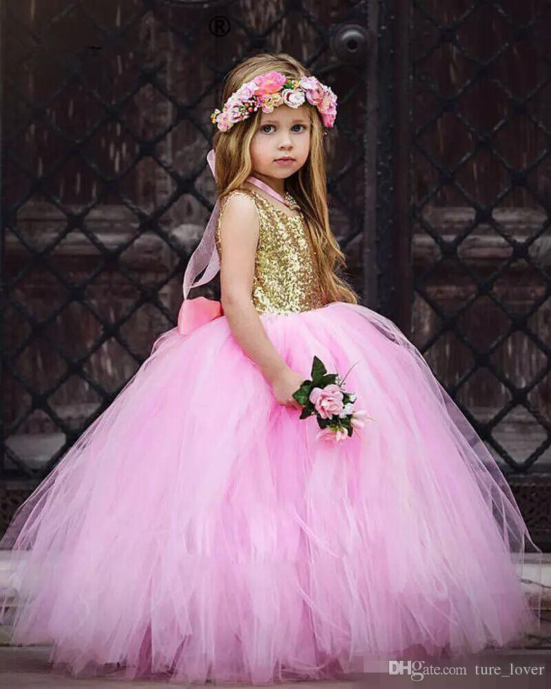 Sparky Gold Sequin Flower Girls Dress with Big bow Pink Tulle Tutu Skirt Kids Ball Gowns Tulle Children Birthday Party Gowns