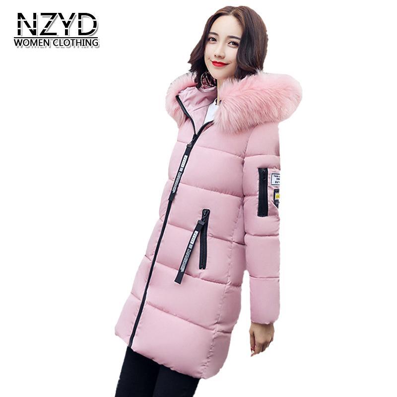 Nouveau Femmes Manteau 2018 Mode Col De Fourrure À Capuche Épaississement Chaud Moyen Long Manteau Femmes Impression Coton Rembourré Veste LADIES480 S18101102