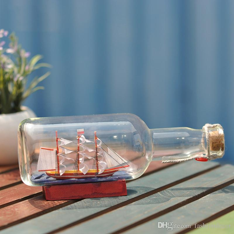 Glasflaschen Schiff Ocean Series Flasche Boot Dekoration Flasche Boot Kreativ Home Mittelmeer Segelboot Holzboot Handcraft