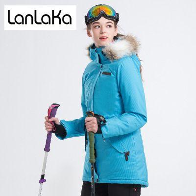 Acheter Lanlaka Marque Veste De Ski Femmes Hiver Veste Imperméable à Leau Nouveau Ski De Haute Qualité Snowboard Vestes Bleu Ciel Manteau De Ski