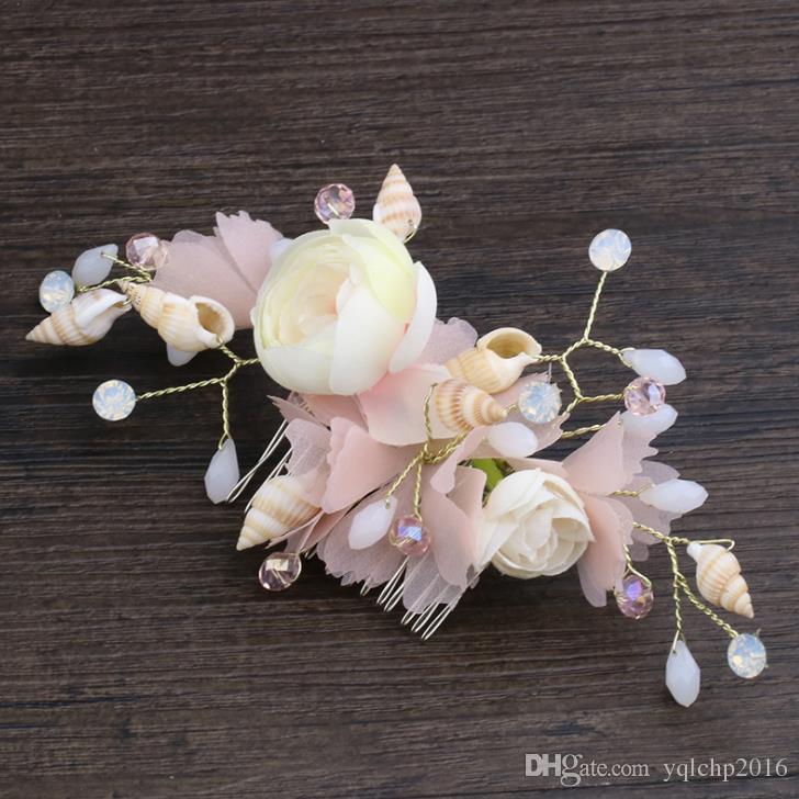 New Seashell comb, pink silk, floral head dress, banquet headgear, bridal ornaments