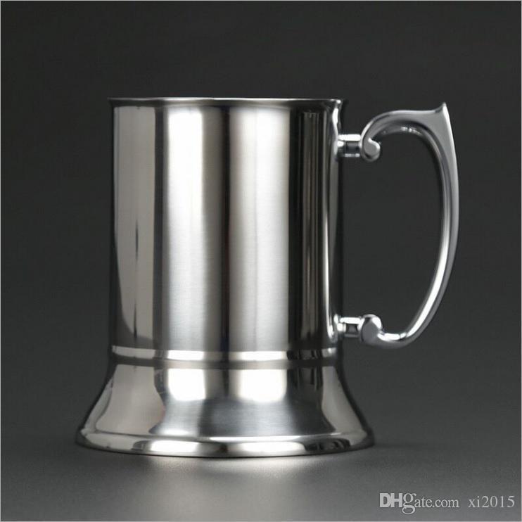 con manico rinforzato per t/è antiscivolo a doppia parete cocktail latte GJCrafts 450 ml Boccale da birra in acciaio inox resistente al calore birra