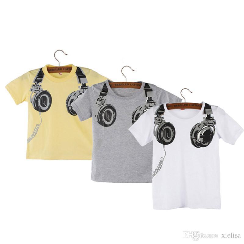 Style européen et américain Garçon Enfants D'été T-shirt Casual Casque À Manches Courtes Cutton Tops De La Mode T-shirt T-shirts Vêtements