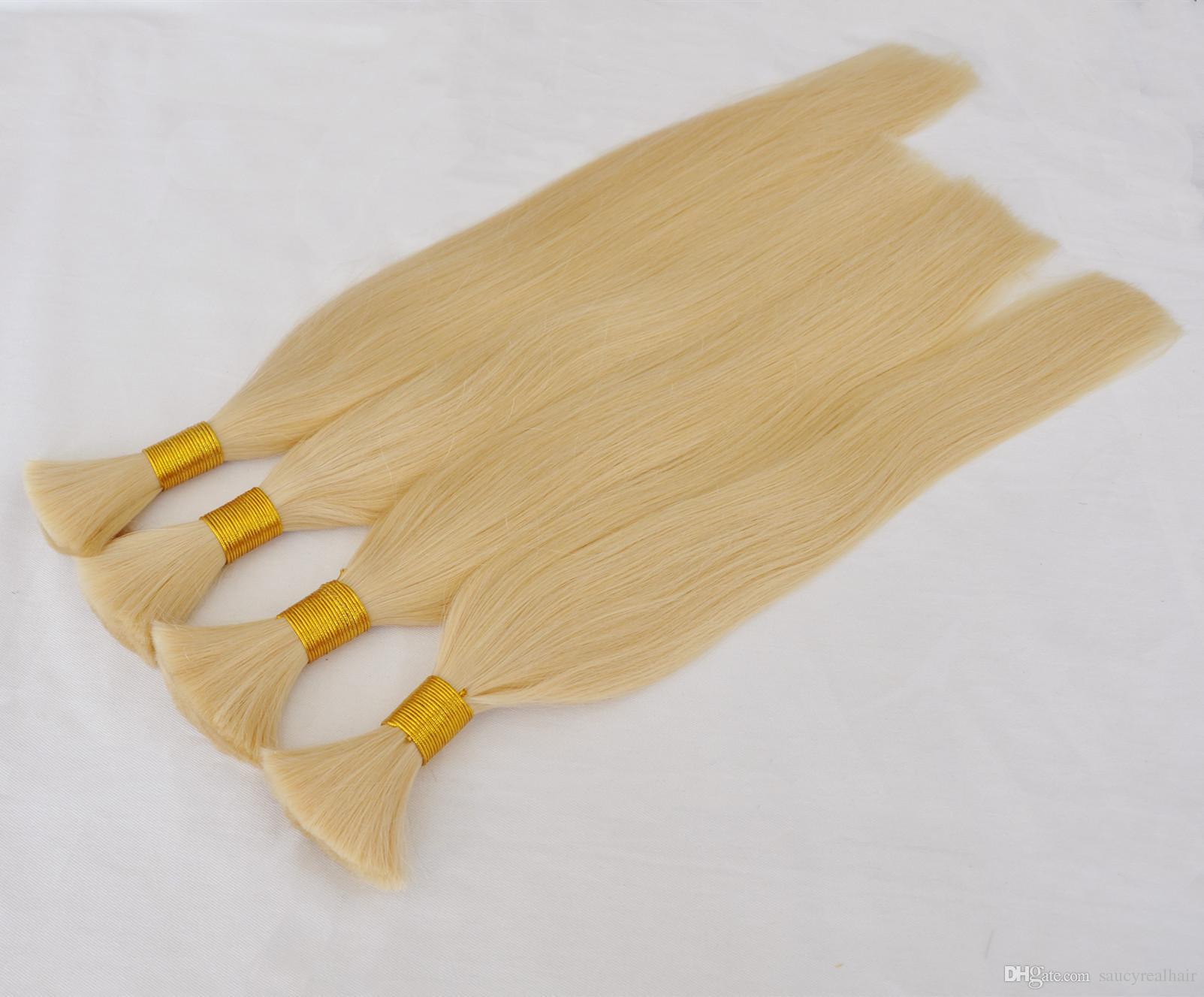 금발 색상 613 # 브라질 Braiding 벌크 머리 아니 Weft 100gram 로트 스트레이트 웨이브 인간의 머리 대량 용 Braiding 구매 3Lot Get 1PCS Free