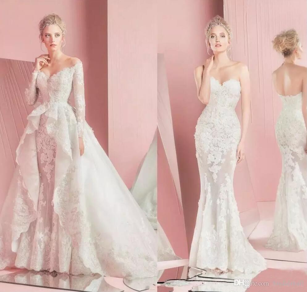 Encaje africano Sheer mangas largas vestidos de novia Overskirt cariño más tamaño jardín Boho vestido de novia con tren desmontable vestidos de novia