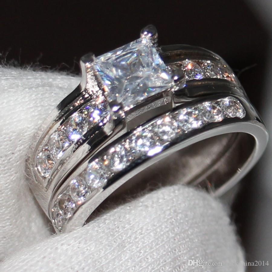 Оптовая профессиональный Коготь установка ювелирных изделий стерлингового серебра 925 пробы белый сапфир Принцесса вырезать имитация Алмаз свадебные женщины кольцо подарок