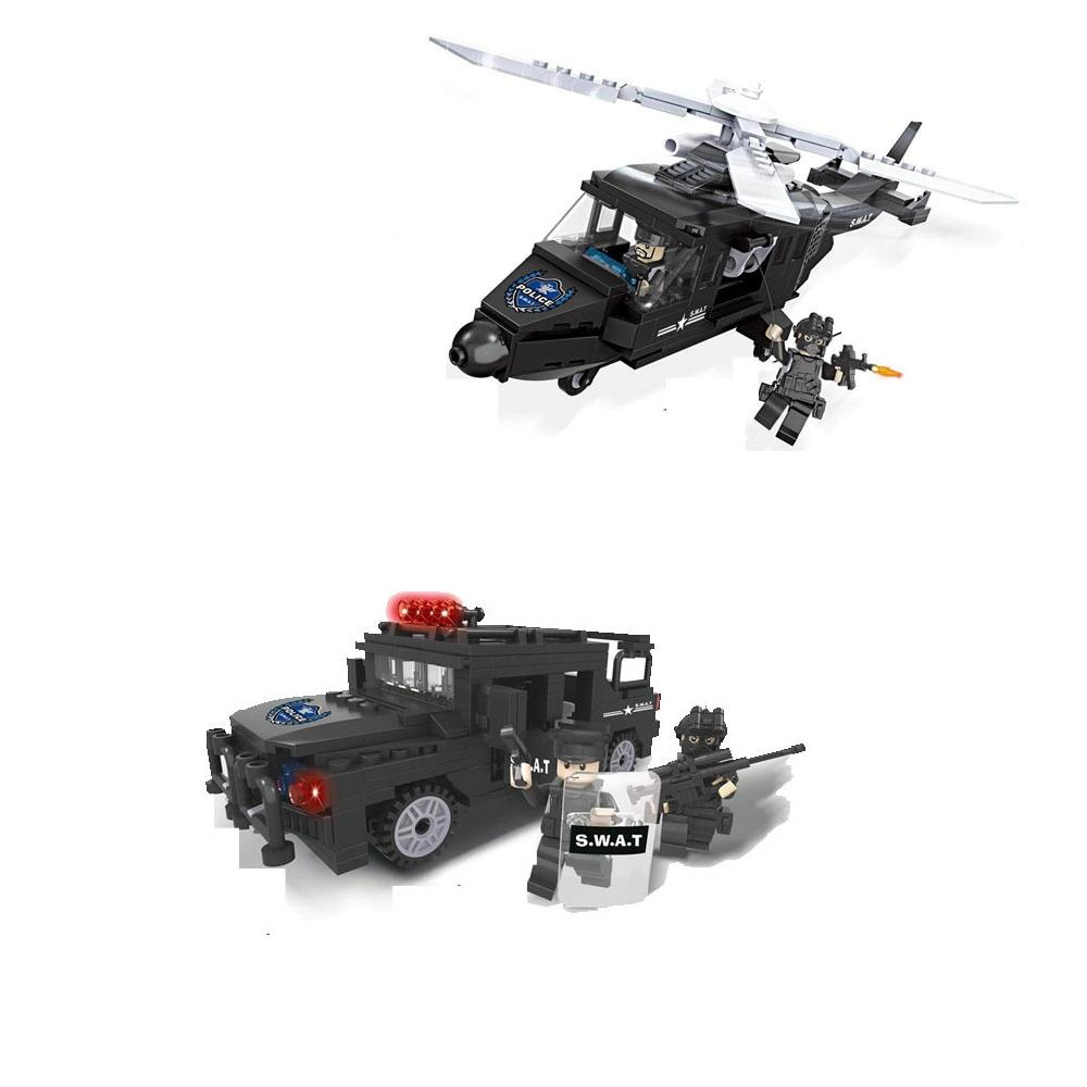 Toy Block Special Police Series 6505-6506 Helicopter Hummer Chase Vehicle