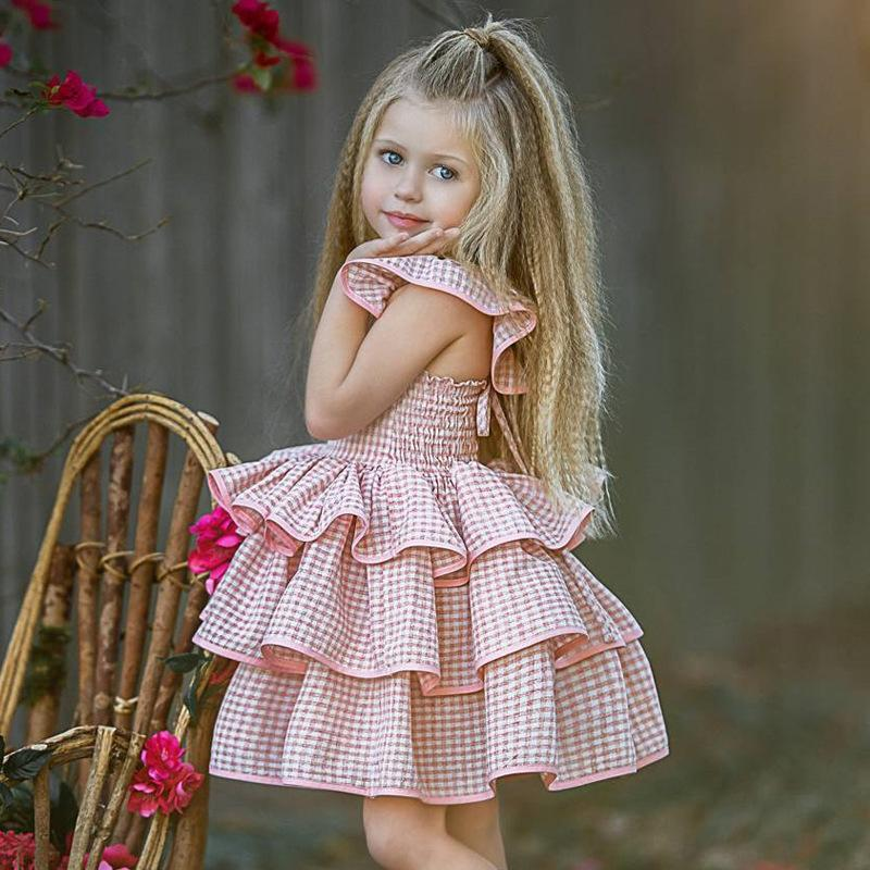 fashionable children skirt in summer baby's plaid fly, sleeve's back dress, girl's cake, puffy skirt