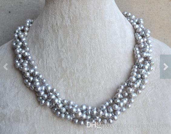 18 pulgadas de largo joyería de la perla, color gris 4 filas 5.5-6.5mm genuino collar de perlas de agua dulce, regalo de la mujer del cumpleaños de la boda
