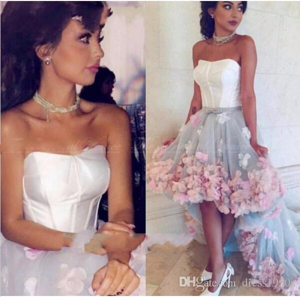 Vestido de festa Barato Handmade 3D Flor Alta Baixa Prom Vestido Dubai Caftan Árabe Curto Frente Longo Voltar Vestidos de Noite
