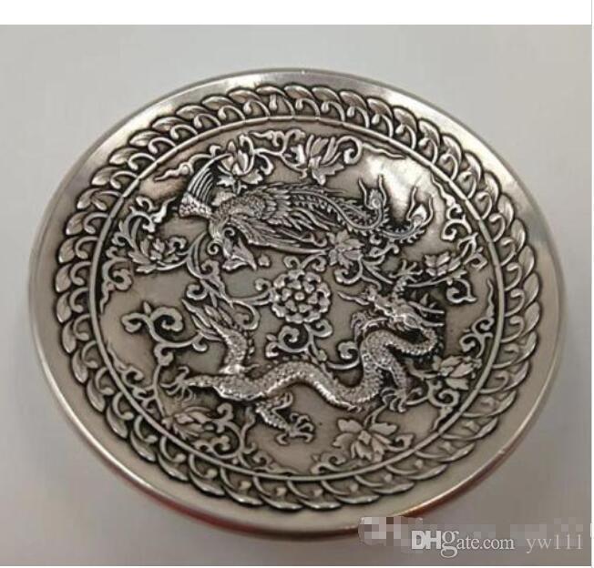 Großhandel - Chinese Old Cupronickel Handmade Carved Drachen und Phönix Gericht