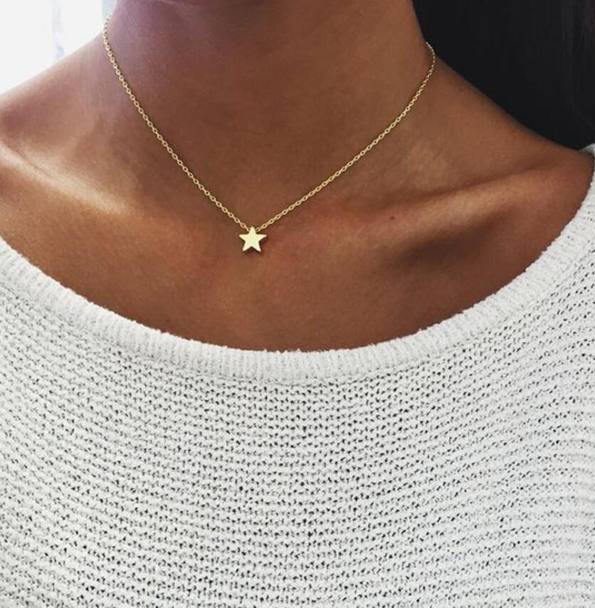 Babero Chapado en oro Zircon Collar Gargantilla Colgante Estrella luna Collar