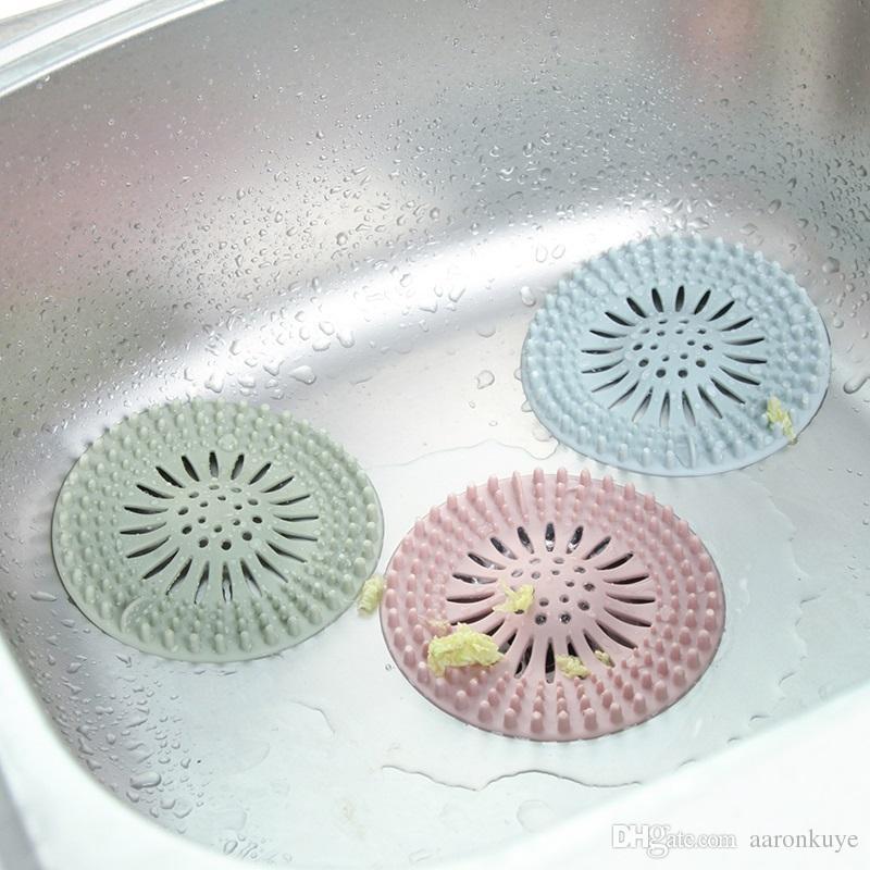 Thicken Round Silicone Sink Drain Filter Bathtub Hair Catcher Stopper Trapper Drain Hole Filter Strainer for Bathroom Kitchen
