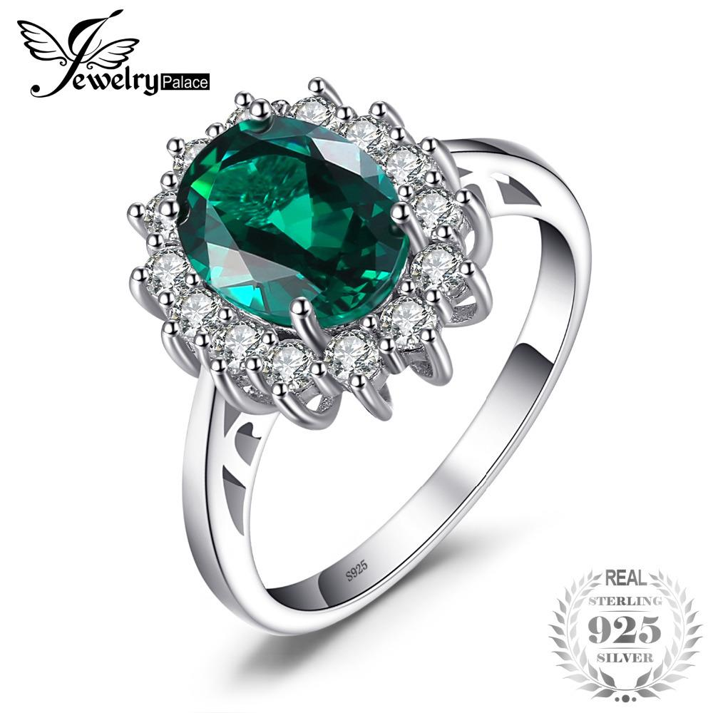 Jewelrypalace princesa diana william kate middleton 2.5ct criado esmeralda anel sólido 925 anel de prata esterlina para as mulheres presente d1892004