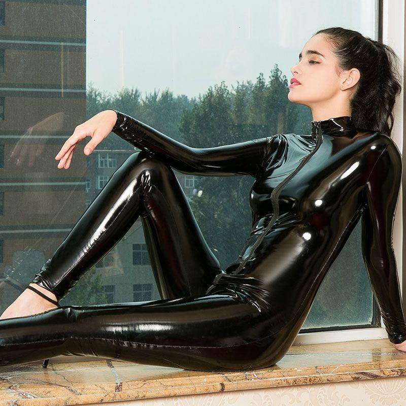 acheter sexy faux cuir latex zentai catsuit lisse wetlook jumpsuit avant fermeture eclair erotique jumpsuit elastique noir rouge pu bodysuit de 19 77