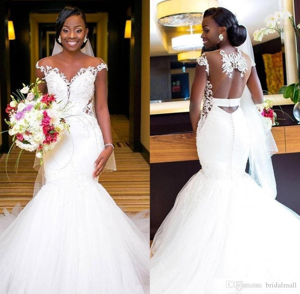 Plus Größe 2020 Perlen Tüll Meerjungfrau Afrikanische Brautkleider Sheer Neck Spitze Appliques Mantel Brautkleider Open Back Formale Brautkleider